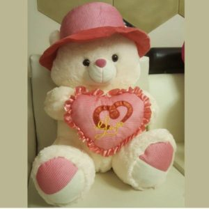 Teddy Bear 24 Inches with Reversible Pink Magic Heart Pillow
